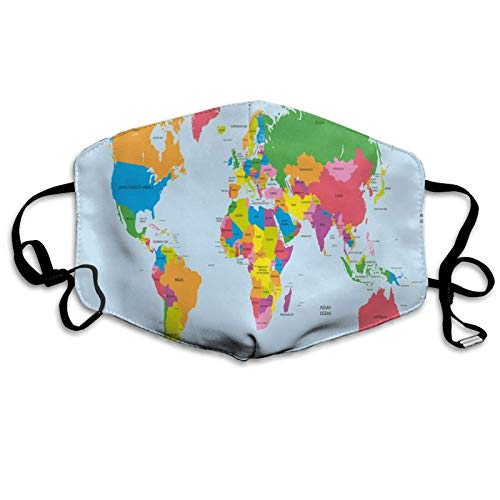 Gesichtsschutz Klassische bunte Weltkarte im politischen Stil Reisen Europa Amerika Asien Afrika Wiederverwendbare Mundschutz Gesichtsabdeckung für erwachsene Kinder Waschbarer Gesichtsschal Mundschal
