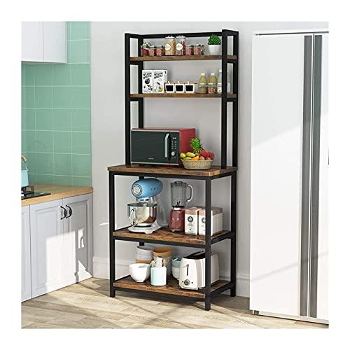 WYLSZ Estante de madera industrial para especias de cocina, estantes de almacenamiento para utensilios de cocina, fácil montaje, grande de 5 niveles, organizador de horno de microondas 0529