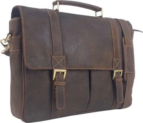 Unicorn Vera Pelle Fino 16,4 Pollici Borsa del Computer Portatile Ventiquattrore Marrone Messenger Bag #2J