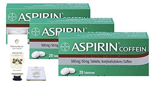 Aspirin Coffein 3 x 20 Tabletten Sparset inkl. einer Handcreme ODER Handseife von Pharma Nature