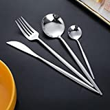 Kirin-1 Cutlery Set,Cutlery Includes Knife, Fork and Spoon,Stainless Steel Cutlery Knife Fork Spoon Set-Silver_24-Pcs