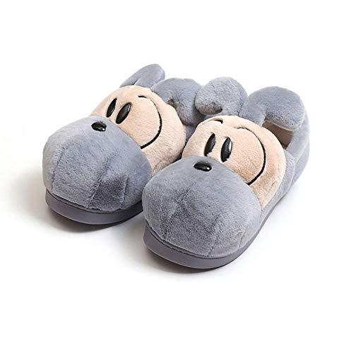Y-PLAND Zapatillas de algodón para el hogar de Pareja de Dibujos Animados, Zapatillas Todo Incluido y cálidas, Zapatillas de algodón de Felpa para Interiores en otoño e Invierno-Azul_EU43-44