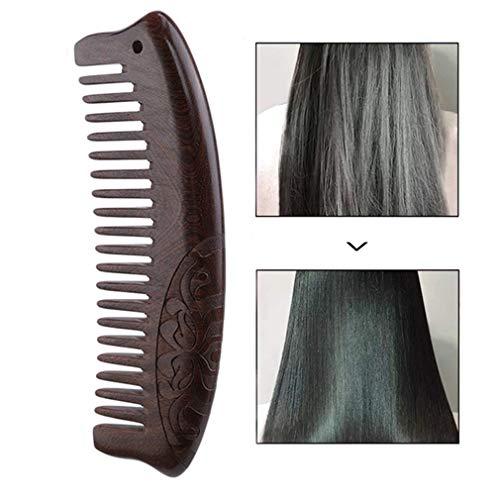 HENGSONG Large Dent Peigne À Cheveux - Peigne En Bois Démêlant Naturel Pour Cheveux Bouclés - Pas De Peigne En Bois De Santal Statique Pour Femmes Et Hommes