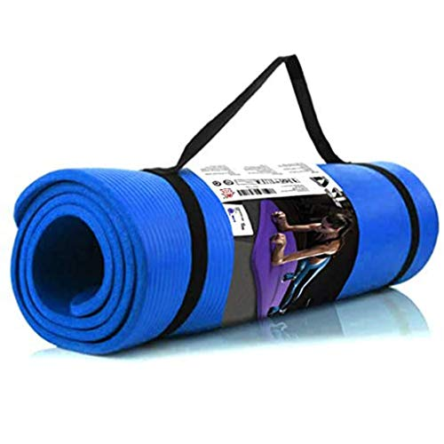Youmymine Yoga Mat Extra Thick Widened Non Slip Durable Portable Exercise & Fitness Mat for Yoga, Pilates & Floor Workouts (Blue, one Size)