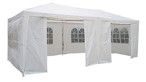 AirWave Gazebo per Feste da 3m x 6m Bianco con Pannelli Laterali, Tettoia 120g Impermeabile e Struttura in Acciaio Verniciato A Polvere