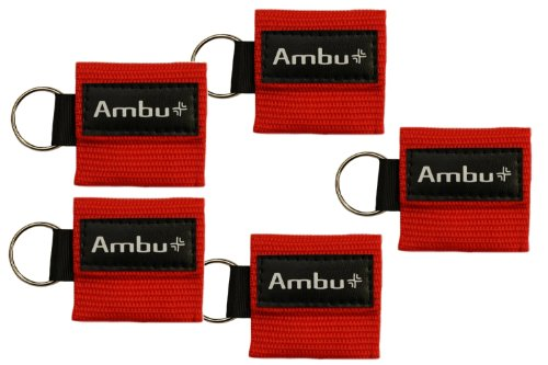 Ambu Res-Cue Key CPR Mask with Mini Keychain Pouch, Red (Pack of 5)
