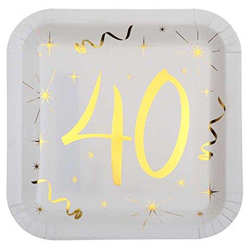 Chal - 10 Assiettes anniversaire 40 ans blanc et or