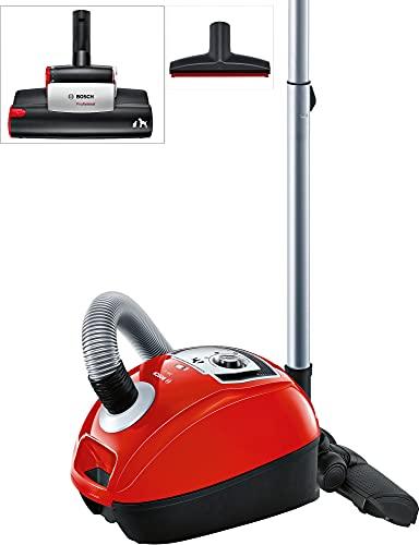 Bosch BGL4ZOOO GL40 Zoo'o Aspirador con bolsa, máxima recogida de pelo de animales, kit de accesorios Animal 360, color rojo