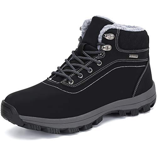 Dannto Herren Damen Winterschuhe Schneestiefel Warm Gefütterte rutschfest Outdoor Boots Winterstiefel Wanderschuhe Sportschuhe Sneakers Freizeitschuhe(Schwarz-B,44)