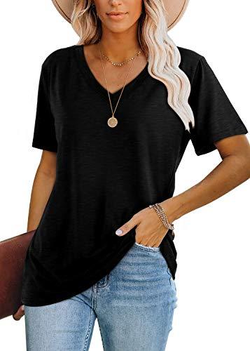 T Shirts for Women V Neck Summer Short Sleeve Tops Black XXL