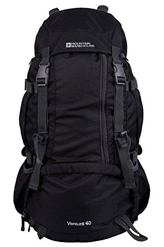 Mountain Warehouse Ventura 40L Rucksack - Airflow Back Daypack, Water Pack, Hydration Pack Black