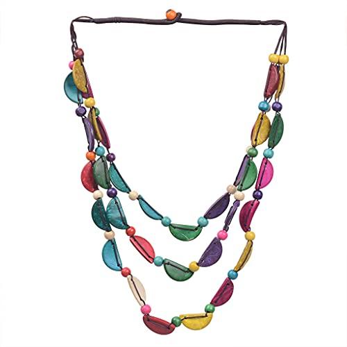 Collar Folk-Custom Tribal Bohemia Pétalo Media Luna Redondo Forma Coco Shell Collar Decoración de Fiesta Collar Colgante