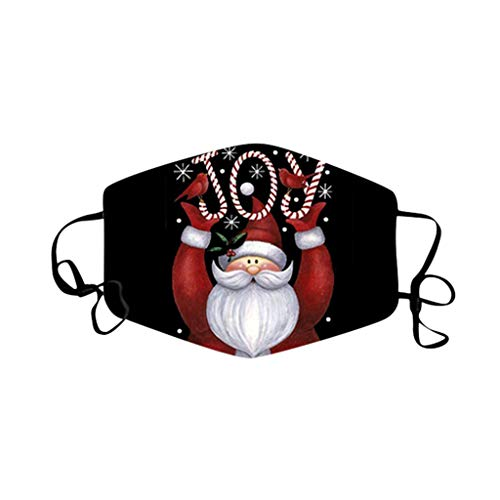 Adults Christmas Face Mask - Santa Claus Holiday Decorative Masks Washable Reusable Mouth Cover for Women 1PC