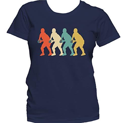 Scrum Half Retro 1970's Style Pop Art Rugby Women's T-Shirt, XL Navy