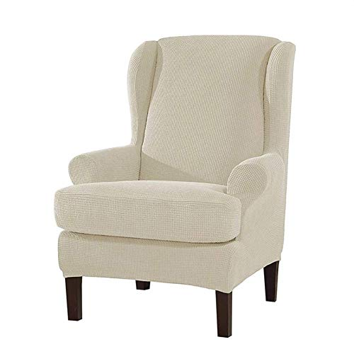Funda elástica para sillón de Orejas, 2 Piezas de Fundas de sofá con Respaldo de Orejas Fundas de sillón para sillón de Orejas, Protector de Muebles en la Sala de Estar, con una Funda de coj