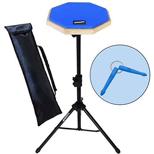 keepdrum DP-BL SET Practice Pad mit Ständer u.Tasche + Schlüsselanhänger Drumsticks Blau