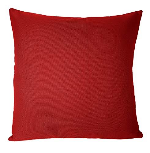 In & Outdoor UNI Kissenbezug ca. 48x48 cm für Wohnzimmer, Terrasse Garten & Balkon (Rot)