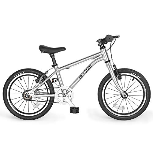 BELSIZE 16-Inch Luxury Belt Drive Kid's Bike for Boys and Girls, 12.57 lbs Lightweight Aluminium Alloy Bicycle, with Dual Hand V-Brakes and Adjustable Height Seat, Silver