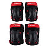 4 / 6PCS / SET de seguridad for niños Equipo de Protección engranaje del rodillo Monopatín patinaje protector de la mano del codo rodillera Traje cómodo y práctico ( Color : 4PCS BLACK , Size : XS )