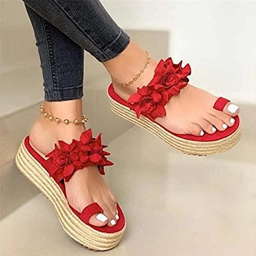 DZQQ Femmes Sandalescompensées Chaussures pour Femmes Talons Hauts Sandales Chaussures d'été 2021 Flip Flop Chaussures Femme Plate-Forme