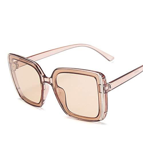 NJJX Gafas De Sol De Montura Grande Coloridas Para Mujer, Gafas De Sol Cuadradas De Gran Tamaño Con Personalidad A La Moda, Gafas Retro De Leopardo Para Viajes Al Aire Libre, Transparentestea