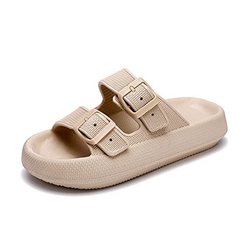 Pillow Slides Slippers Sandals for Women Men Quick Drying EVA Open Toe Soft Cushioned Cloud Slippers Bathroom Shower Massage Spa House Shoes,Non-Slip Double Buckle Pool Beach Sandals