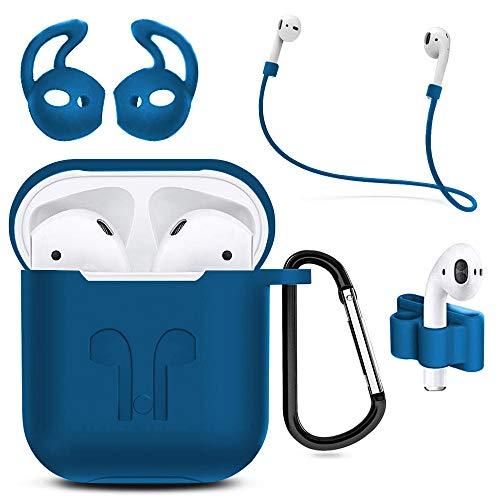 MMOBIEL Custodia antiurto in silicone compatibile con AirPods 1/2 Cover protettivo Skin 6in1 Set con Clip Ganci per orecchie Cinturino (Blu)