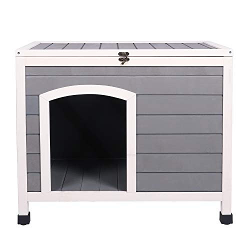 Friday discount 31'' Portable Wooden Dog House Indoor, Easy Assembly, Insulated Pet Kennel Shelter with Opening Roof and Removable Floor, Dog Crate End Table