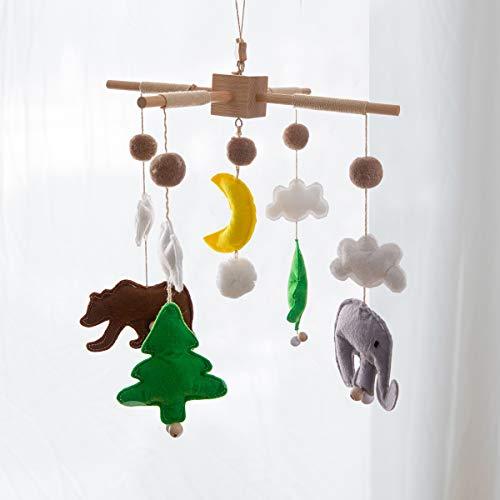 Okawari Home 在庫処分 ベッドメリー 北欧風 ベビー メリー モビール 動物 ハンドメイド風鈴 ベッド飾り 撮影道具 出産祝い 赤ちゃん クマ 月 ゾウ 木製 ギフトキッズベッド 吊り下げ式 贈り物
