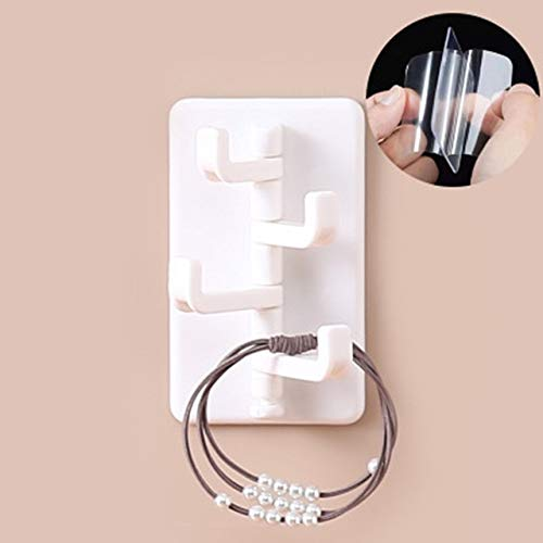 UKKD Sticky Hook 4Pc 4-Hook Kitchen Bathroom Wall Rack Towel Rack Without Screw and Trackless Sticking Hook for Kitchen Bathroom