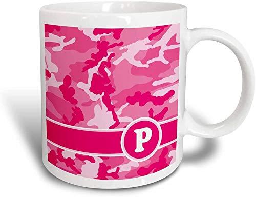 Mug Cute Pink Camo Camuflaje Letra P Taza mágica transformadora, 11 oz