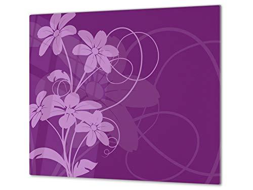 Cubre vitros de cristal templado - Tabla para cortar de cristal – Tabla para amasar y protector de vitro – UNA PIEZA (60 x 52 cm) o DOS PIEZAS (30 x 52 cm); D06 Serie Flores: Flor 2