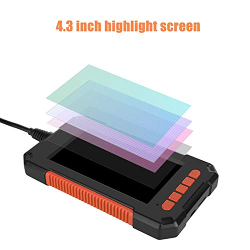 Cámara de inspección de boroscopio Industrial endoscopio cámara 1080P HD LCD de 4.3 pulgadas de pantalla endoscopio IP67 impermeable boroscopio 8 mm 8 luces LED Soporte de tarjeta TF para inspección m