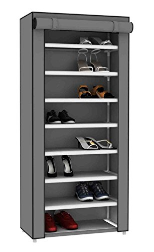 Sunbeam Multipurpose Portable Wardrobe Storage Closet Rack for Shoes and Clothing 7 Tier/Fits 24 Pairs of Shoes Heavy Duty Non Woven Material with Roll Down Cover (Grey)