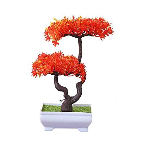 Demarkt Bonsai plant kunstplant kunstmatige bonsai boom grenen kunststof voor kantoor vensterbank hof 26 * 16cm oranje