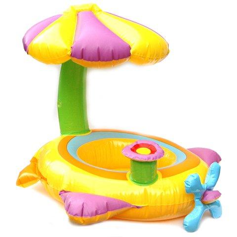 Schwimmring mit Schirm und Fallschutz - Ø 64 cm, aufblasbarer Schwimmsitz, Schwimmhilfe für Kinder bis zu 11 kg