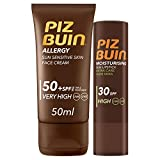 Piz Buin, Allergy, Pack con Protector Solar Facial SPF 50 y Protector Labial SPF 30, 50 ml