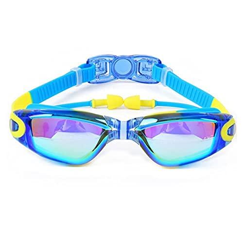 LZZB Dibujos Animados para niños Gafas de natación con tapón de Orejas Juego de Gorro de natación Niños Niñas Silicona antivaho para niños Gafas de natación Gafas de Piscina (Color: Azul Cielo)