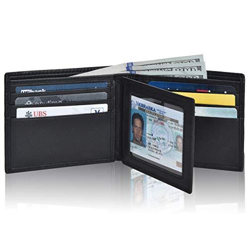 Black Wallets for Men Front Pocet RFID Slim Minimalist Design Leather Wallet