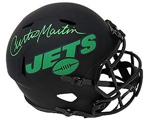 Curtis Martin Signed New York Jets Eclipse Black Matte Riddell Full Size Speed Replica Helmet - Schwartz Authentic