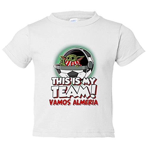 Camiseta niño parodia baby Yoda mi equipo de fútbol vamos Almería - Blanco, 9-11 años