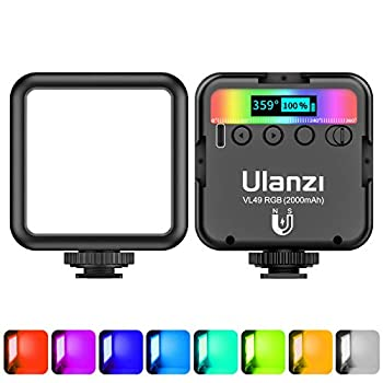 ULANZI VL49 RGB Video Lights LED Camera Light 360° Full Color Portable Photography Lighting w 3 Cold Shoe 2000mAh Rechargeable CRI 95+ 2500-9000K Dimmable Panel Lamp Support Magnetic Attraction
