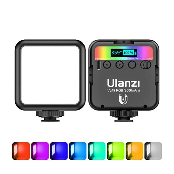 ULANZI-VL49-RGB-Video-Lights-LED-Camera-Light-360-Full-Color-Portable-Photography-Lighting-w-3-Cold-Shoe-2000mAh-Rechargeable-CRI-95-2500-9000K-Dimmable-Panel-Lamp-Support-Magnetic-Attraction