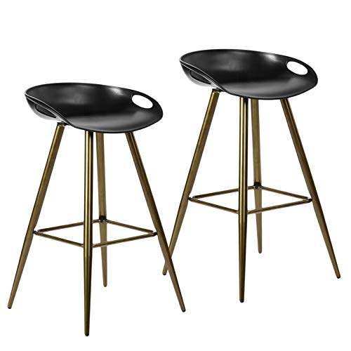HouseInBox Modern Bar Stools, 27.6 Inch Counter Height Stool with Footrest, PP Cushion with Metal Legs, for Kitchen Island Bar Set of 2 (Black & Gold)