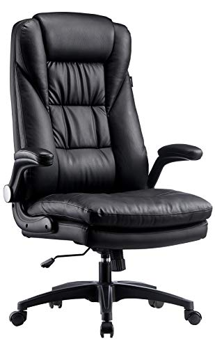 Hbada Ergonomic Executive Office Chair, PU Leather High-Back Desk Chair with Big and Tall Backrest and Cushion, Swivel Rocking Chair with Flip-up Padded Armrest and Adjustable Height, Black
