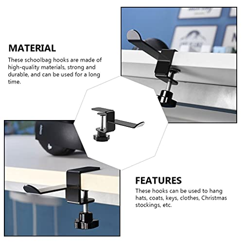 HEALLILY 2pcs Headphone Stand Hanger Holder Headset Soundbar Stand Clamp Hook Under Desk Space Save Mount Universal Fit Gaming PC Accessories Black