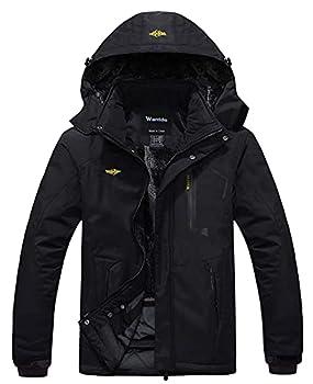 Wantdo Men s Waterproof Mountain Jacket Fleece Windproof Ski Jacket US L Black L