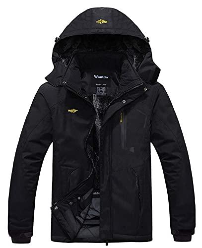 Wantdo Men's Mountain Waterproof Ski Jacket Hood Winter Snow Coats Black 3XL