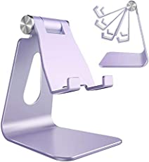 Adjustable Cell Phone Stand, CreaDream Phone Stand, Cradle, Dock, Holder, Aluminum Desktop Stand Compatible with iPhone Xs Max Xr 8 7 6 6s Plus 5s Charging, Accessories Desk,All Smart Phone-Purple