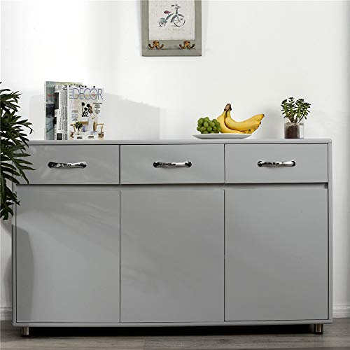 SSLine Grey Wood Buffet Sideboard Kitchen Server Storage Cabinet Cupboard with 3 Drawers and 3 Doors Modern Simple Buffet Cabinet Entryway Console Side Tables for Living Room Dining Room